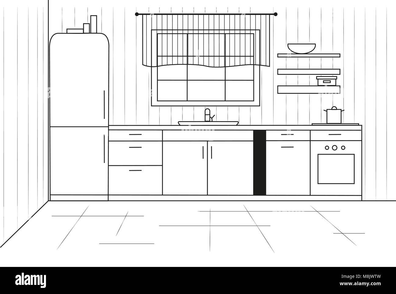 Sketch Line Cuisine Plan Kitchen Vector Illustration Stock