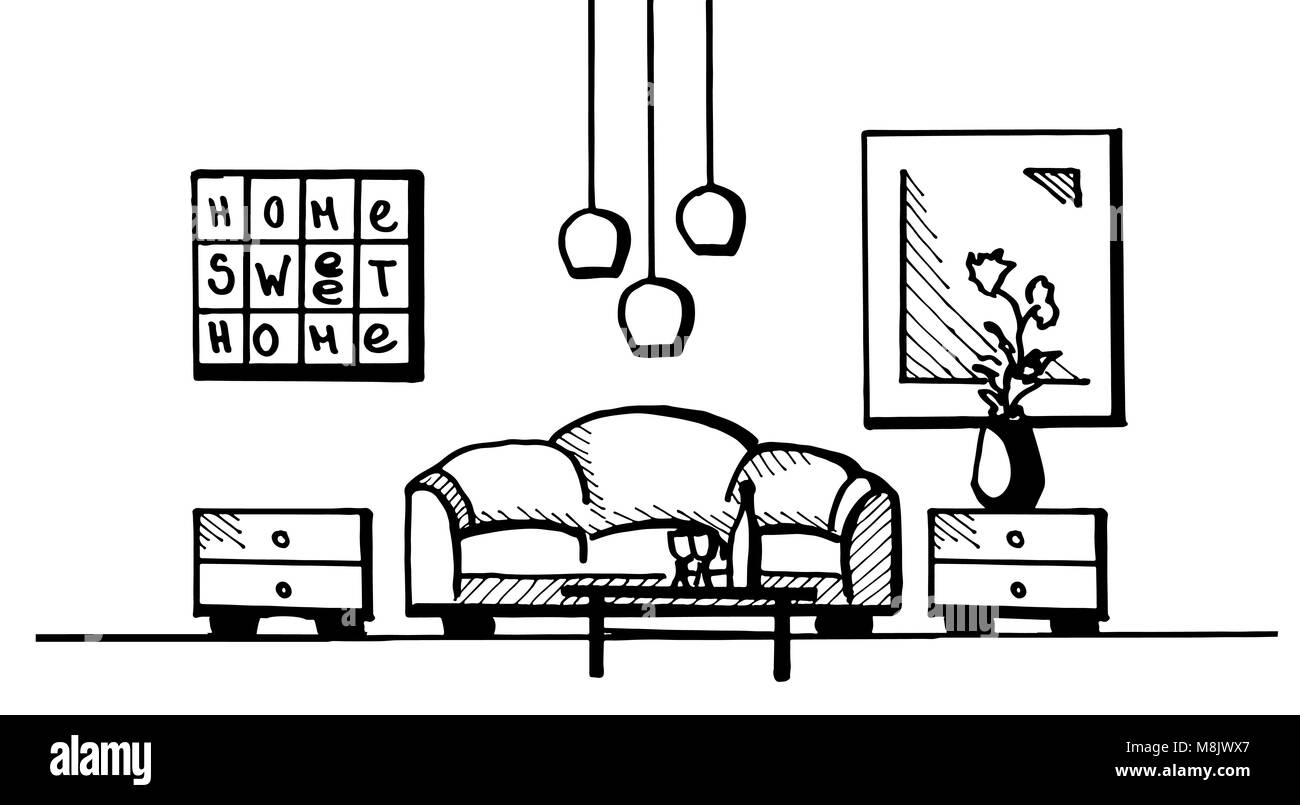 Hand drawn. Linear sketch of an interior. Room plan. Vector illustration. Stock Vector