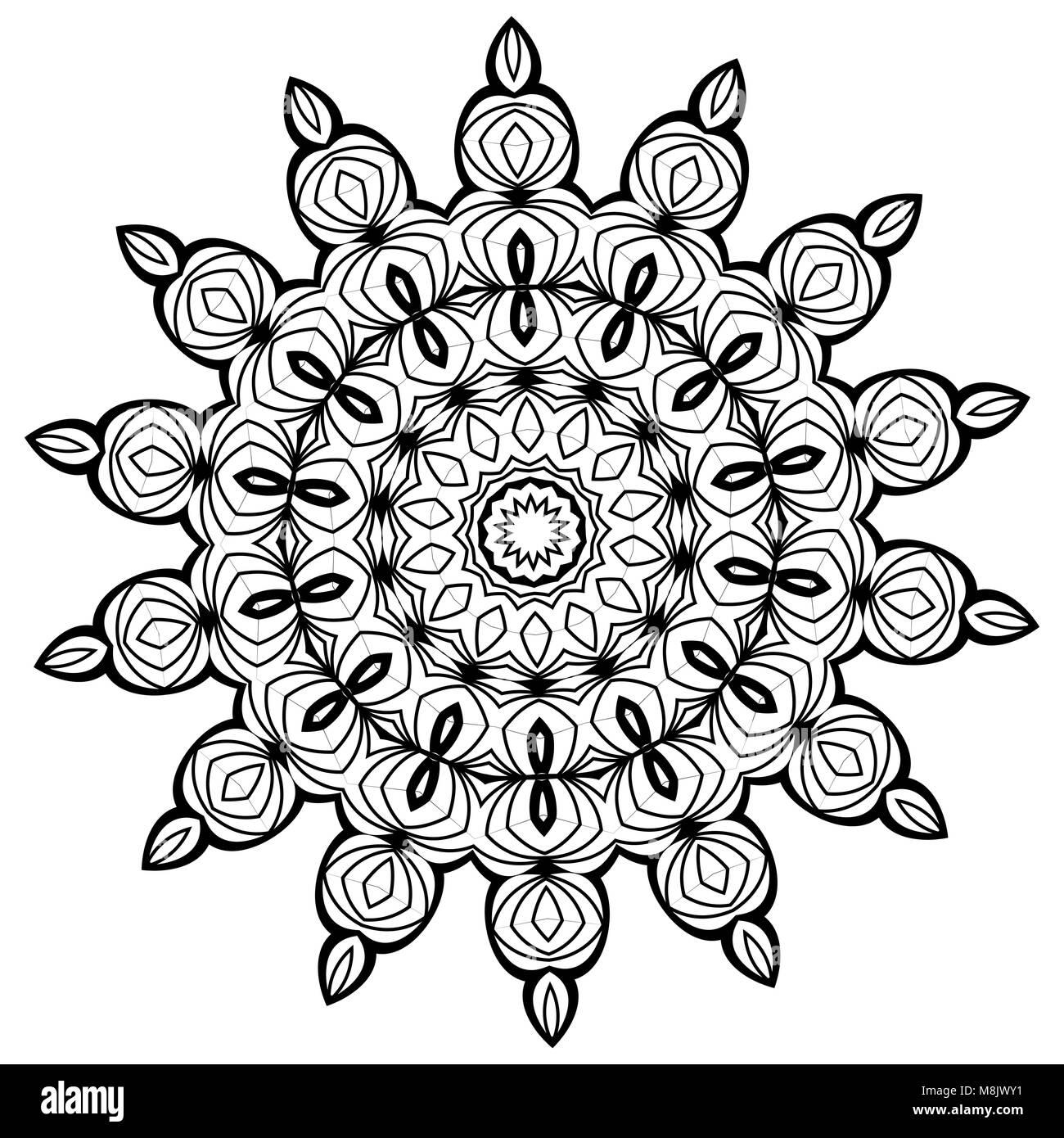 Mandala. Ethnic decorative elements. Vintage decorative elements. Oriental pattern illustration. Islam, Arabic, - Stock Image