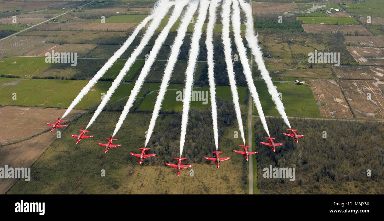 the Red Arrows (RAF Aerobatic Team)  overflying Ontario, Canada Stock Photo