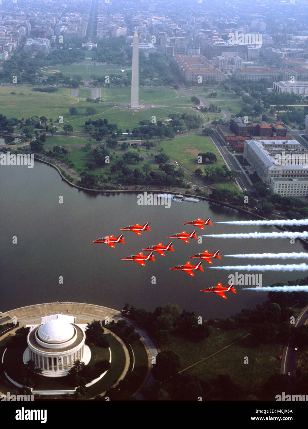 Raf Aerobatic Team, The Red Arrows, flying over the Jefferson Memorial,and the Washington Monument, Washington D.C. - Stock Image
