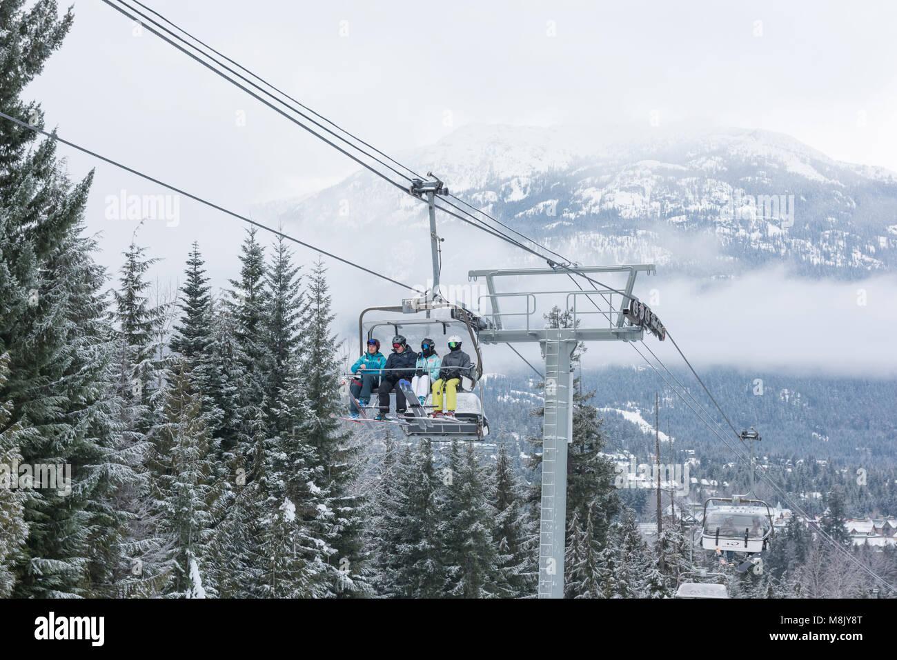 Chairlift at Whistler Blackcomb ski resort, British Columbia. Stock Photo