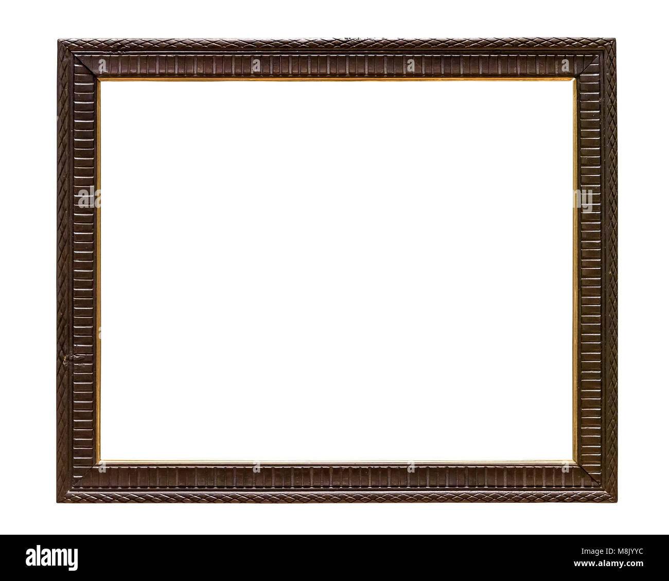 Dark wooden decorative picture frame isolated on white background with clipping path Stock Photo
