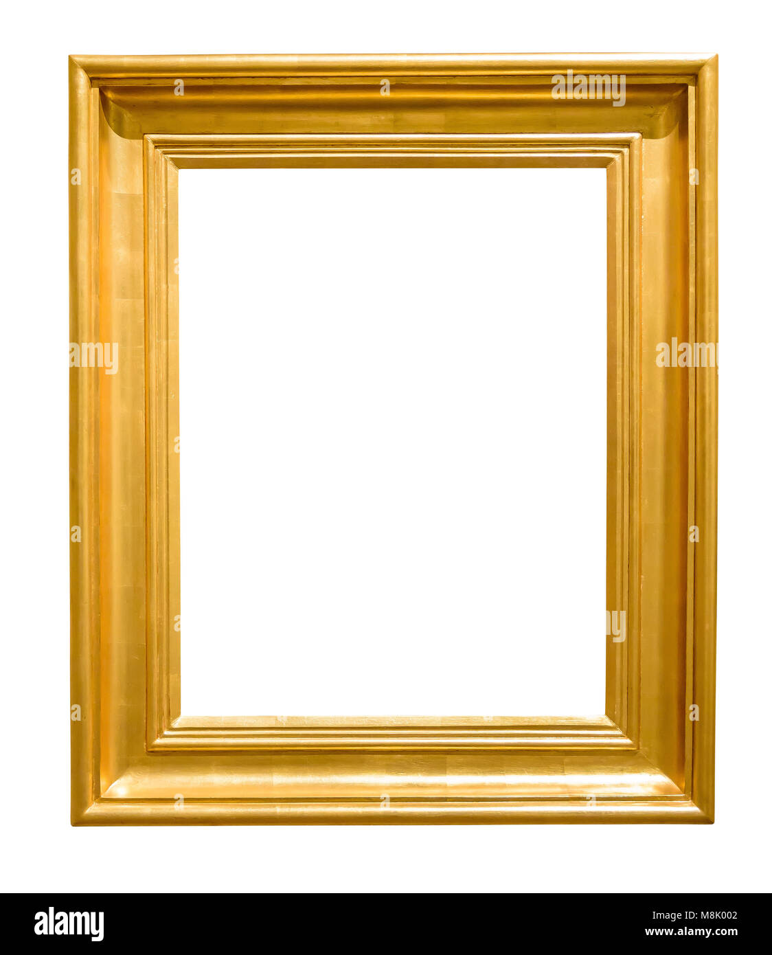Golden decorative picture frame isolated on white background with clipping path Stock Photo
