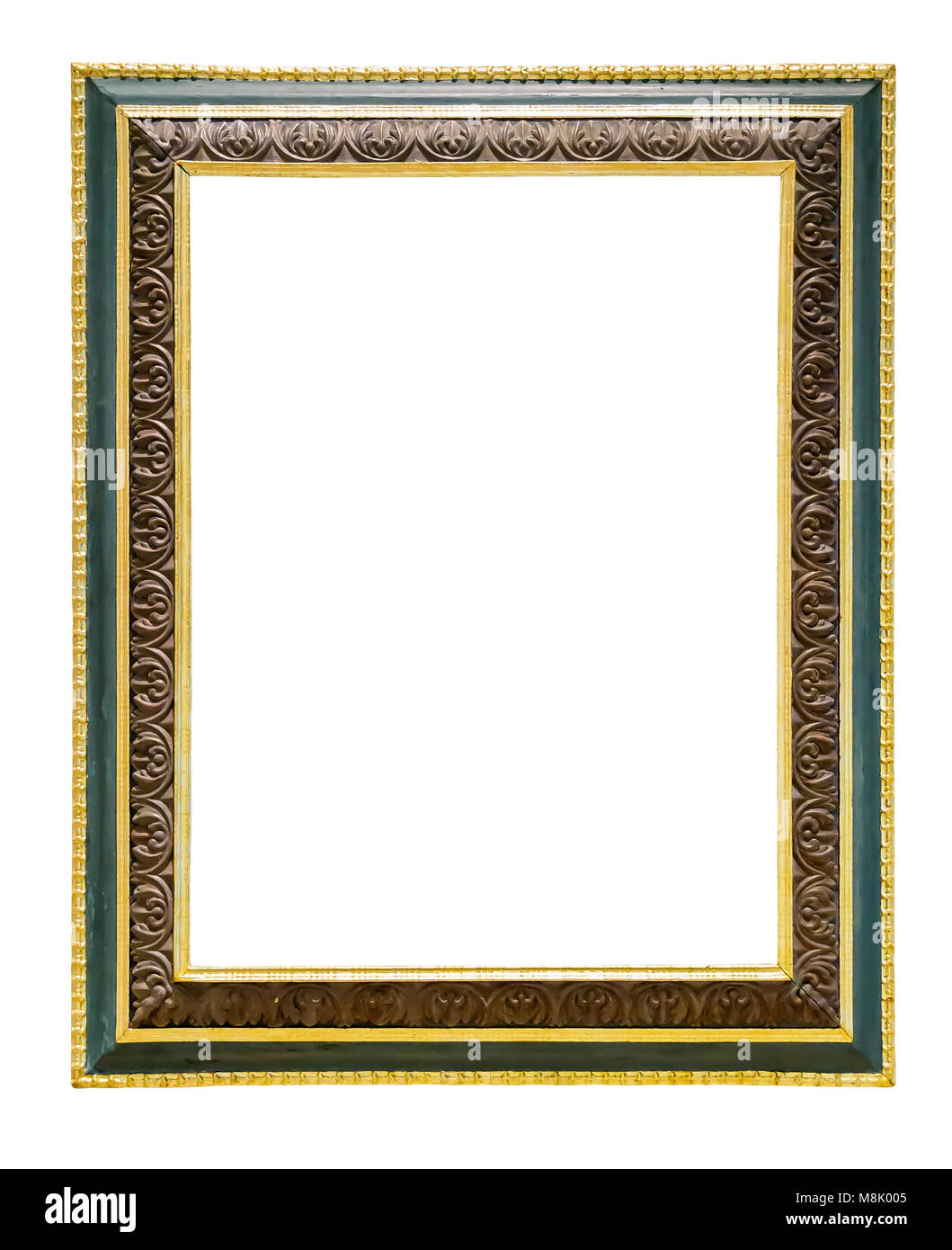 Green wooden picture frame with golden decorations isolated on white ...