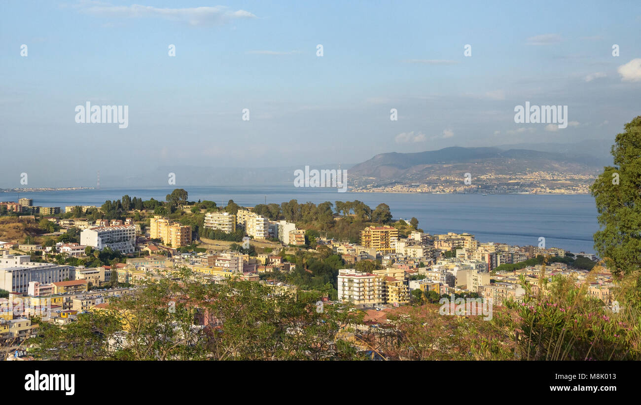 Afternoon view of Messina town with Messina strait in the background, Sicily, Italy Stock Photo