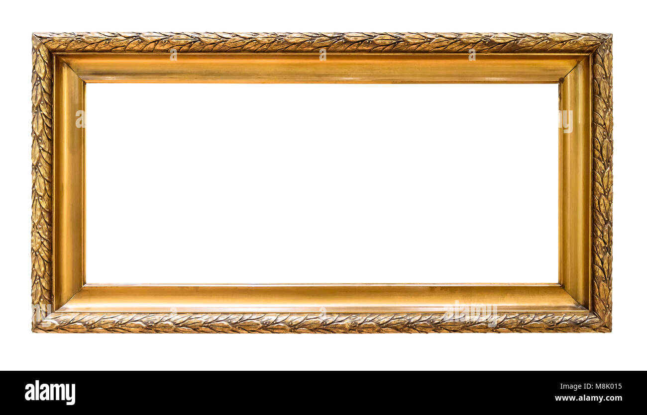 Rectangular golden decorative picture frame isolated on white background with clipping path Stock Photo