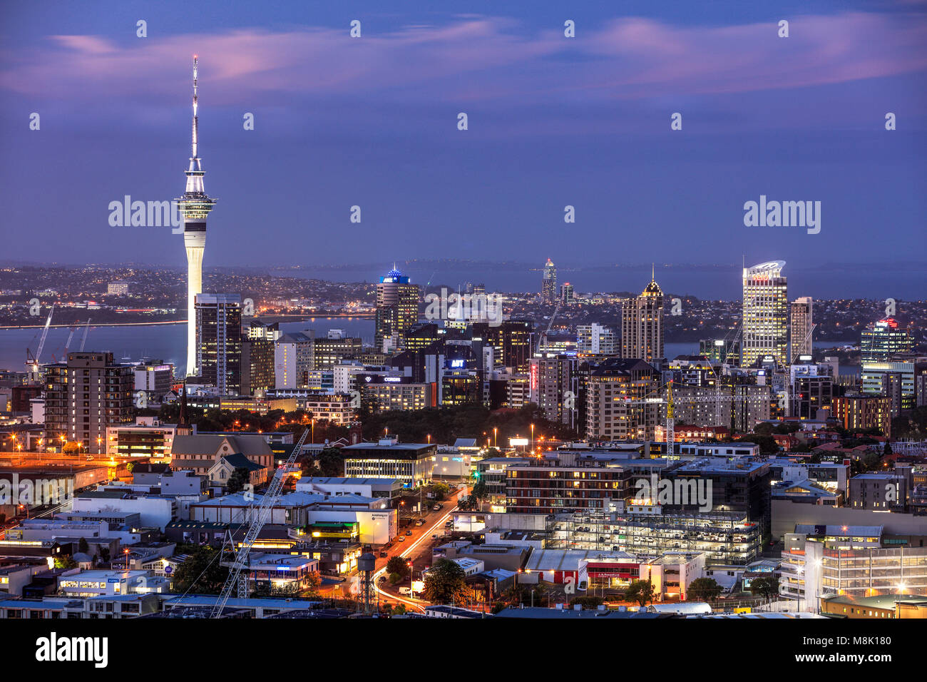 The view of Auckland from the summit of Mount Eden, New Zealand. - Stock Image
