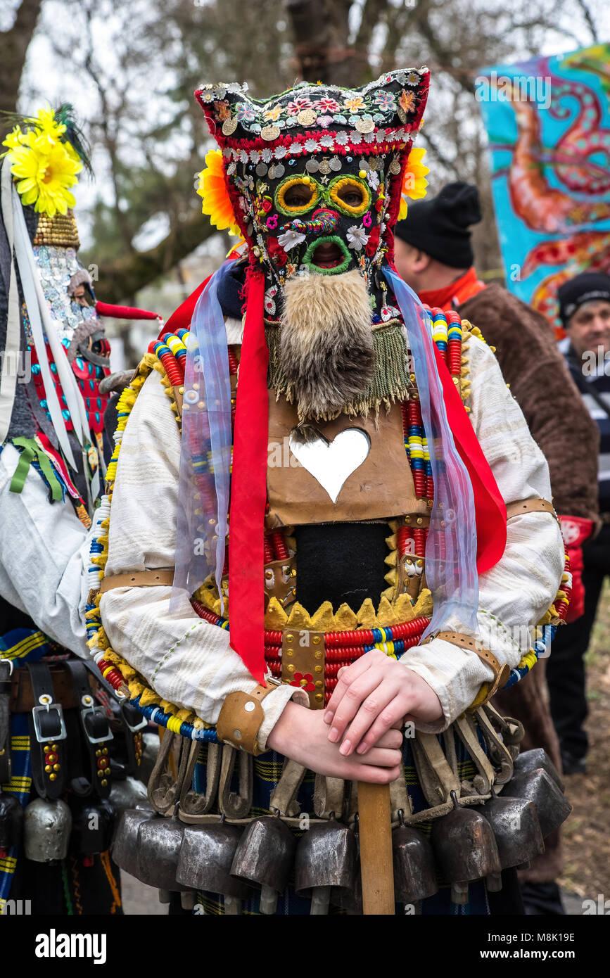 Moldova Traditional Ritual Folk Dance Masks - Old Man - Stock Image