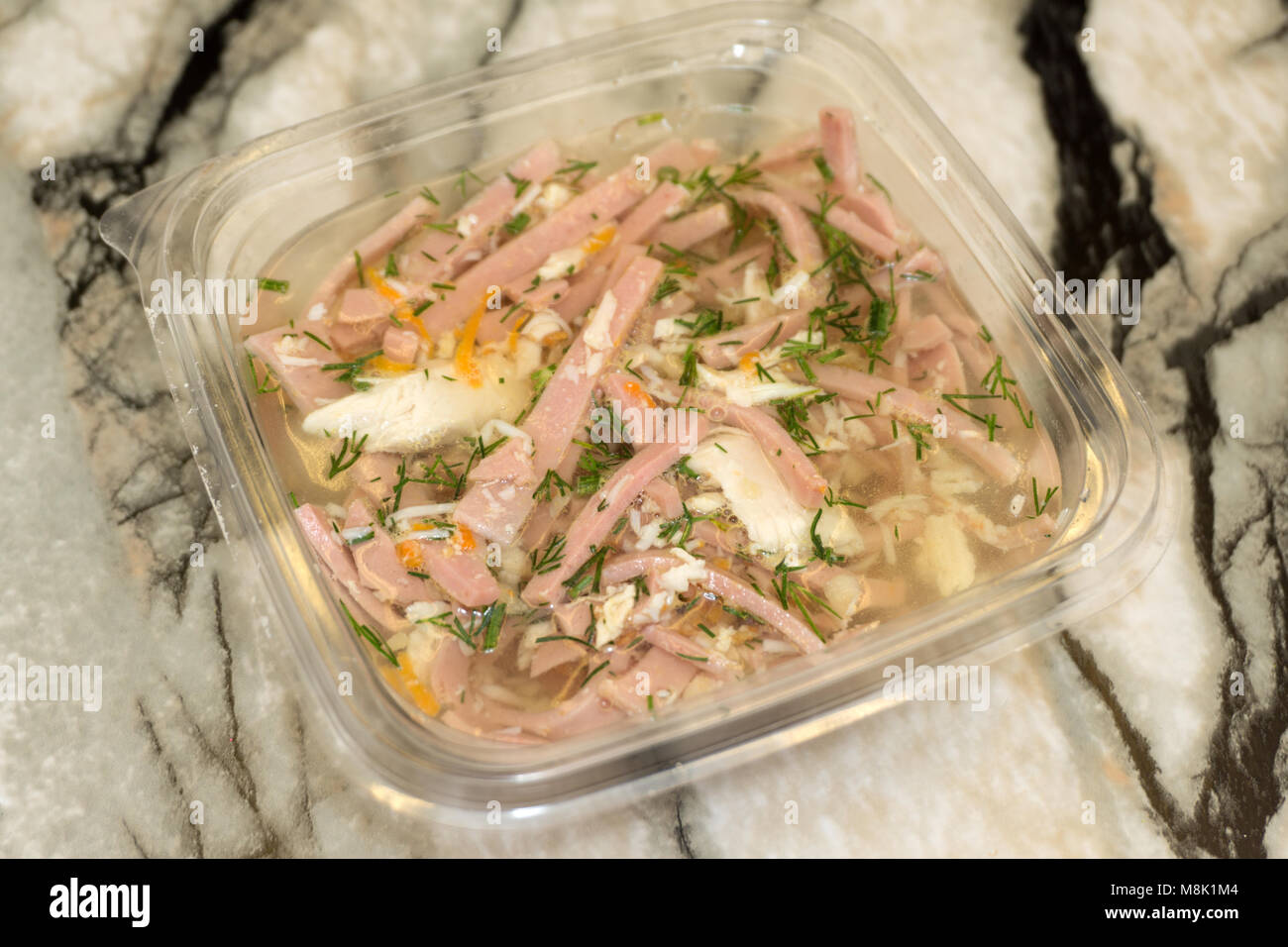 aspic home made, meat-jelly home made on a white background - Stock Image