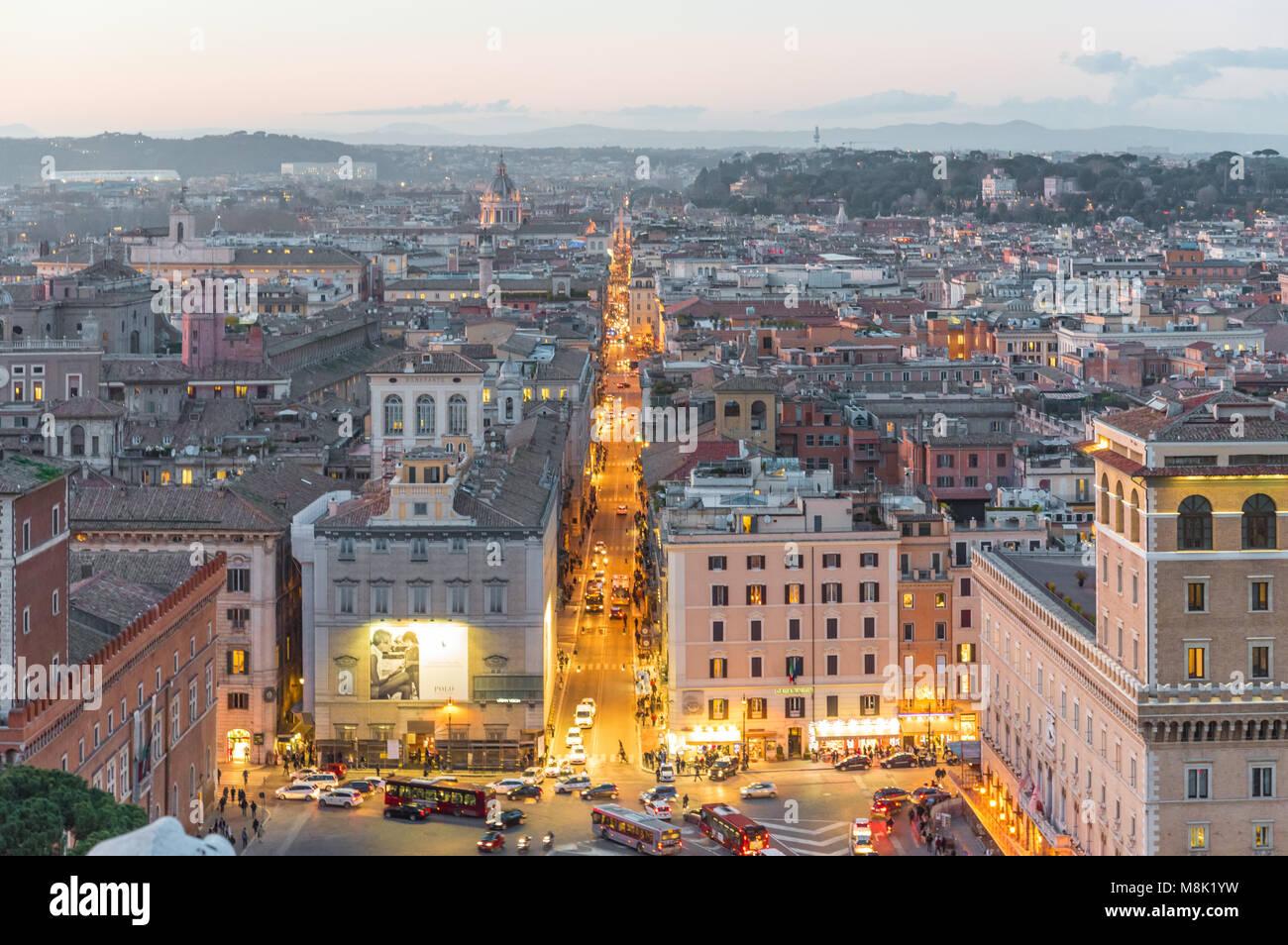 Rome, Italy - The cityscape from Vittoriano monument, in the center of Rome, also know as 'Altare della Patria', Stock Photo