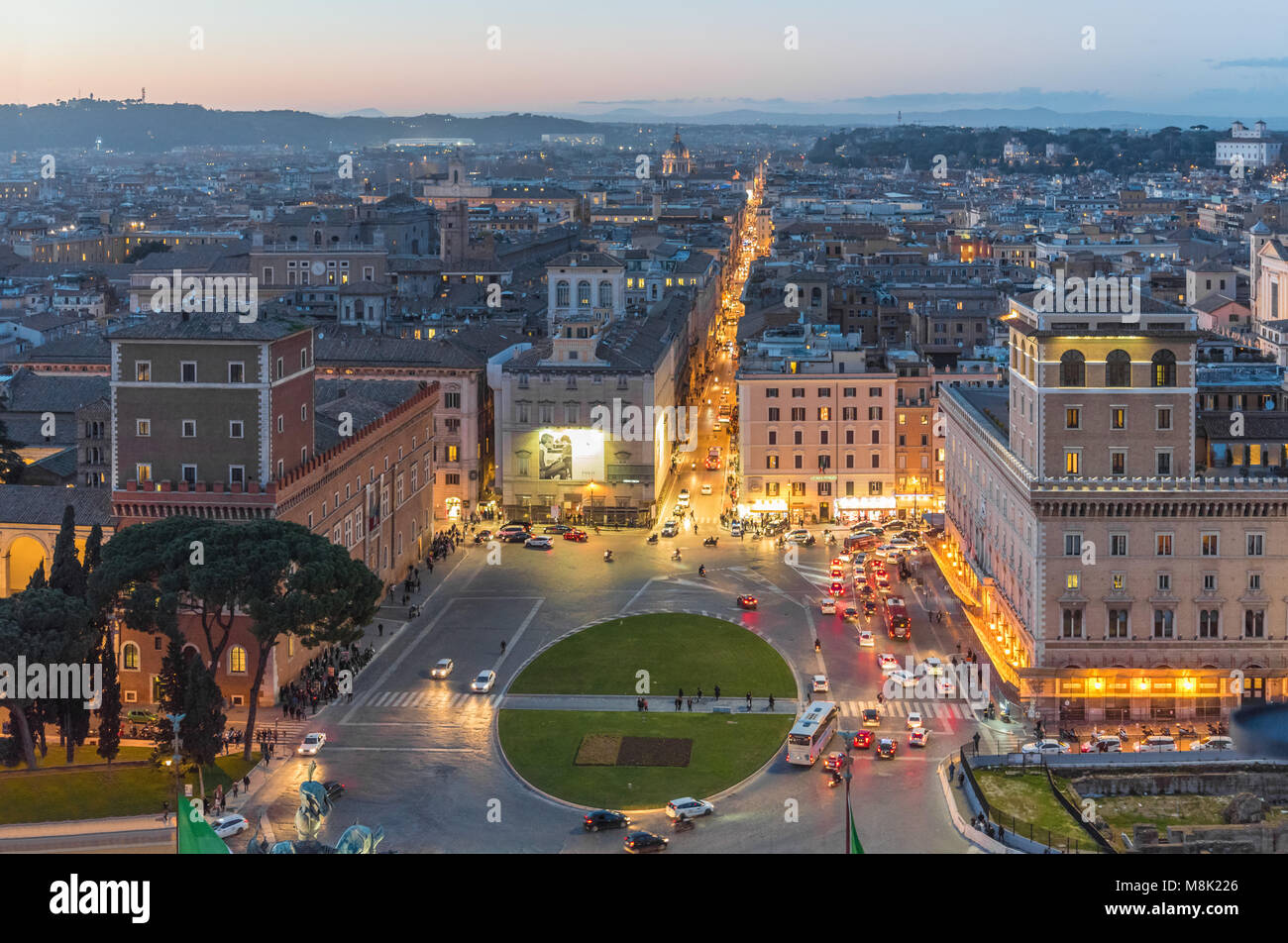 Rome, Italy - The cityscape from Vittoriano monument, in the center of Rome, also know as 'Altare della Patria', Stock Photo