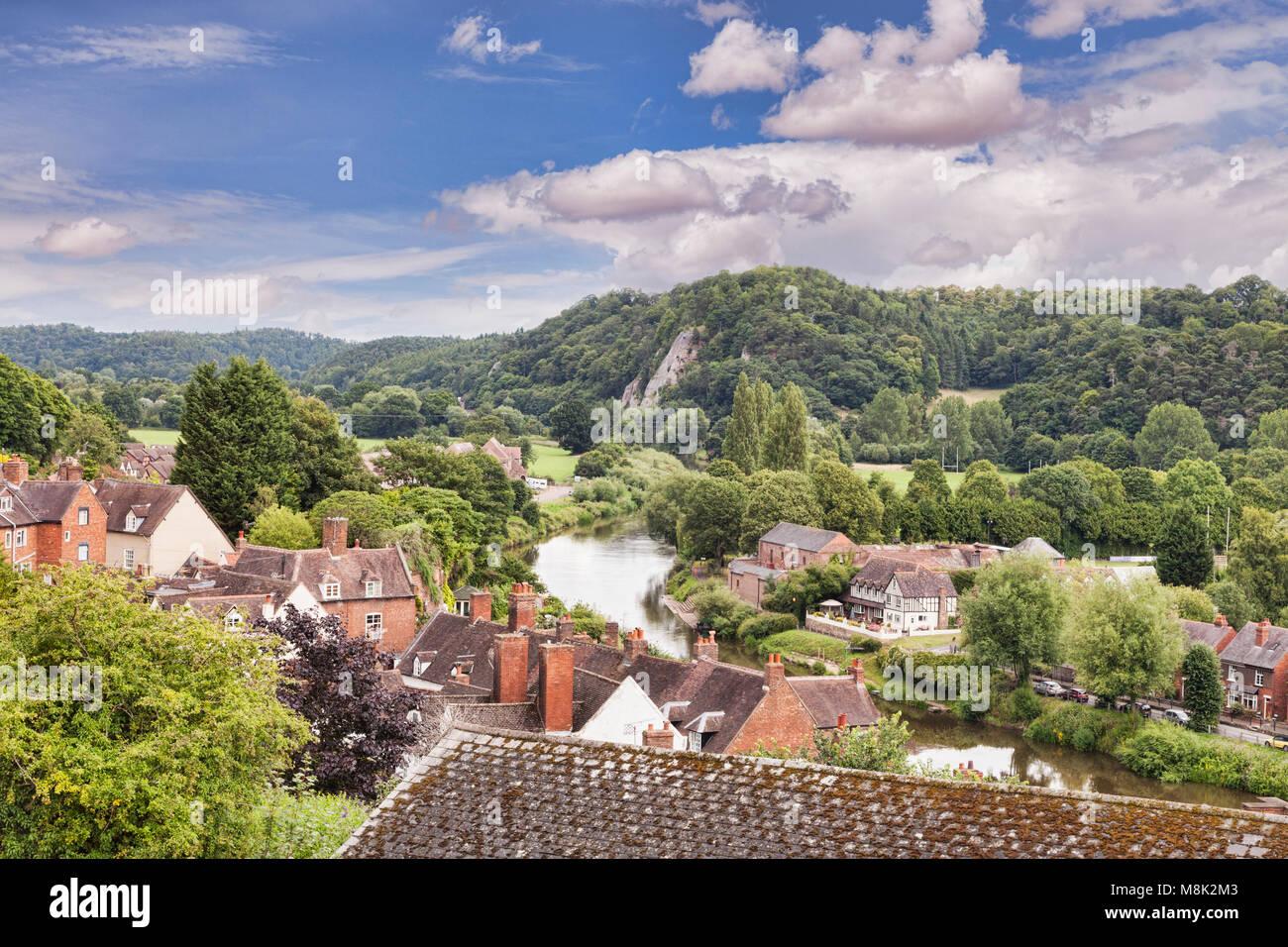 The  River Severn and Bridgnorth , Shropshire, England - Stock Image