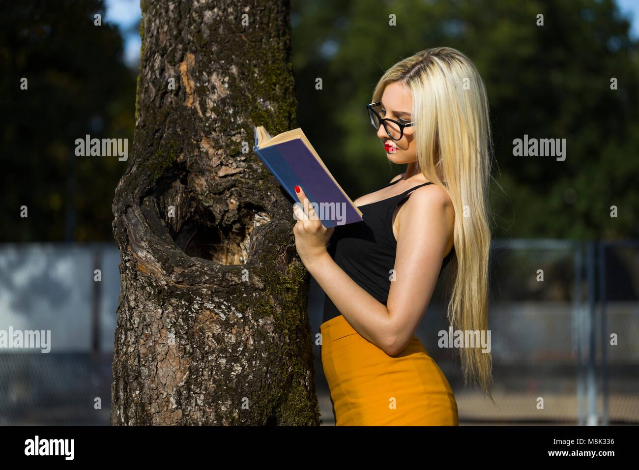 One pretty young-woman student only study - Stock Image