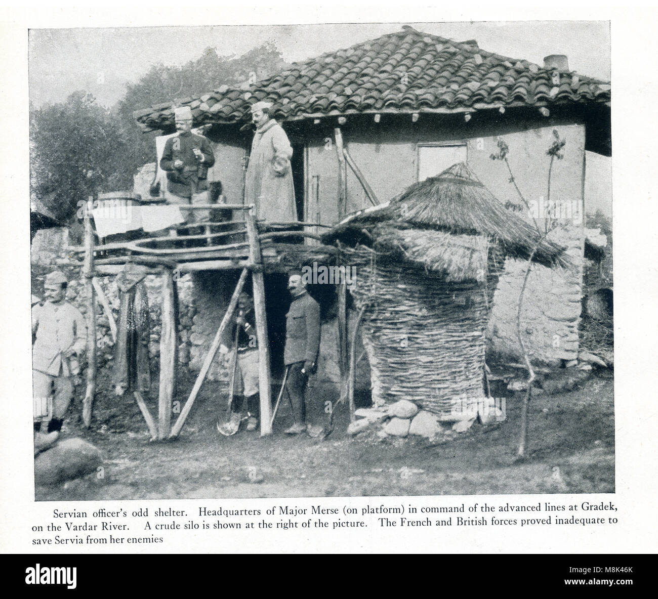 This photo dates to World War I. It shows a Servian officer's odd shelter. Here is the headquarters of Major - Stock Image