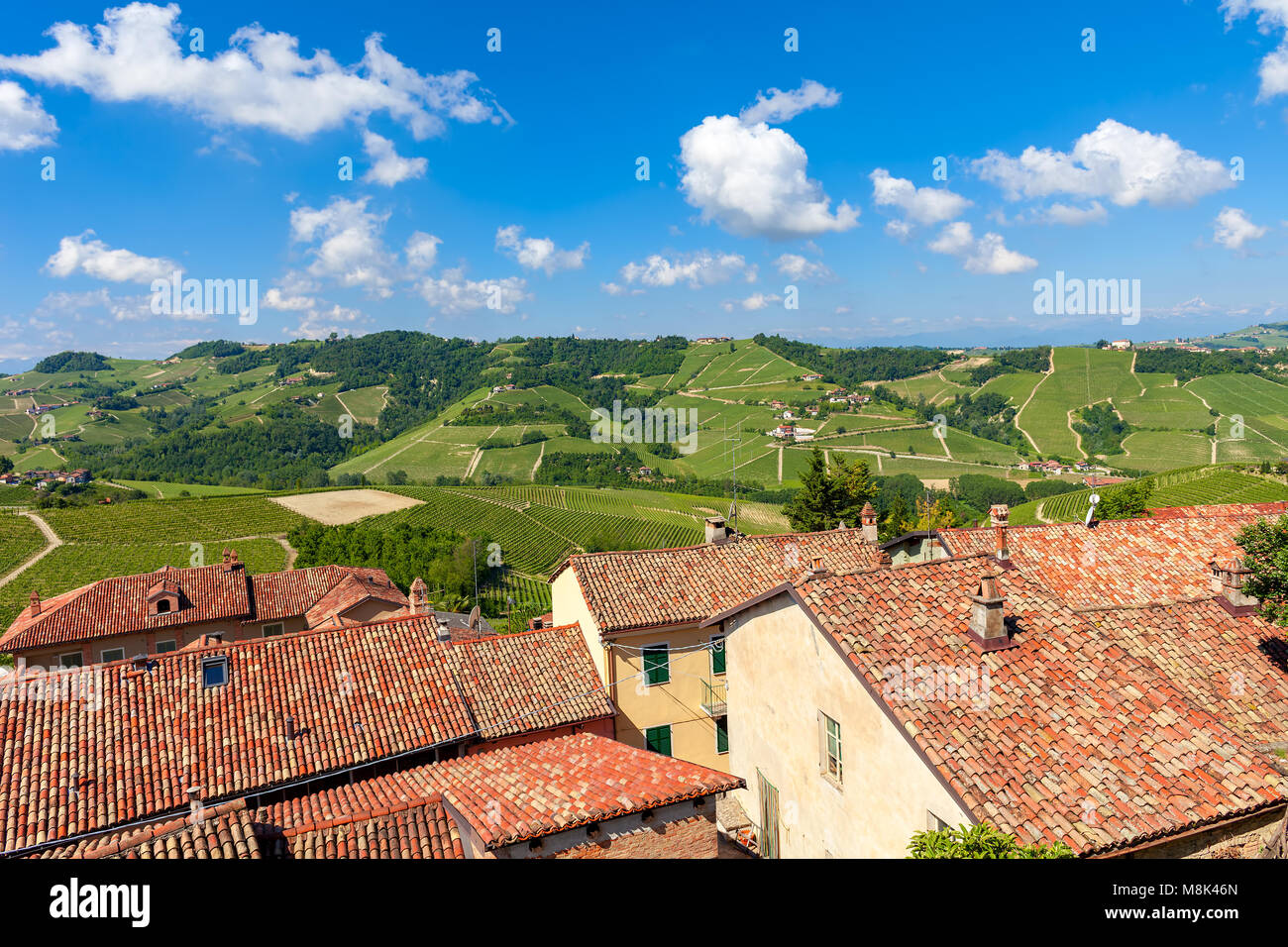 View of rural houses with red roofs overlooking green vineyards on the hills under blue sky with white clouds in - Stock Image