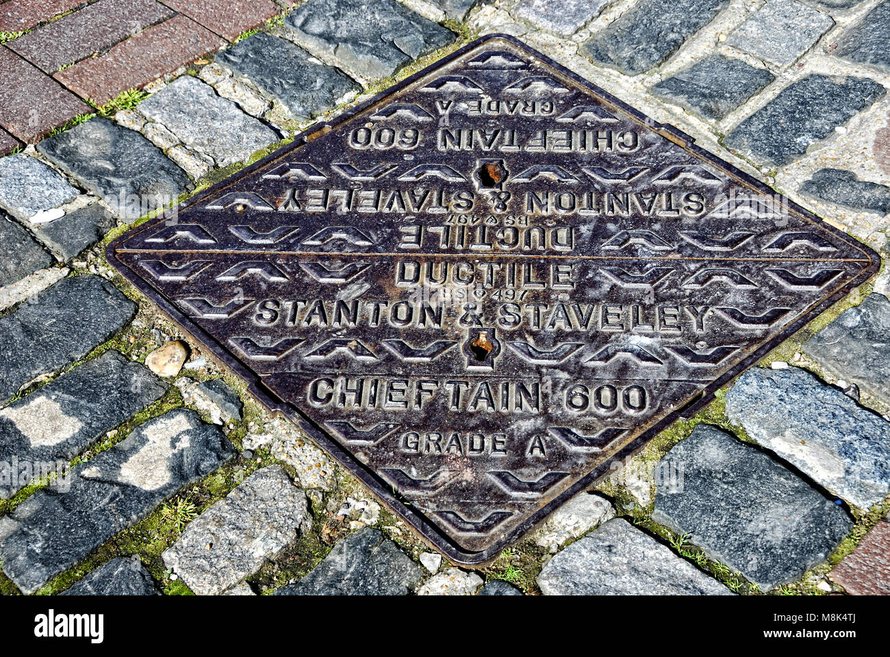 Stanton and Staveley Manhole Cover - Stock Image