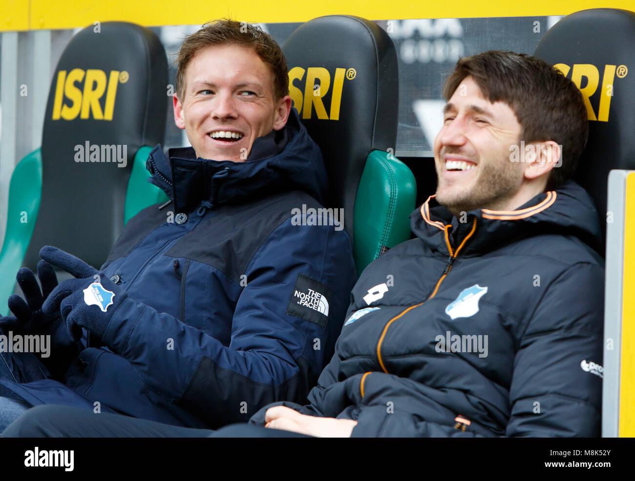 sports,football,Bundesliga,2017/2018,Borussia Moenchengladbach vs TSG 1899 Hoffenheim 3:3,Stadium Borussia Park,coach - Stock Image