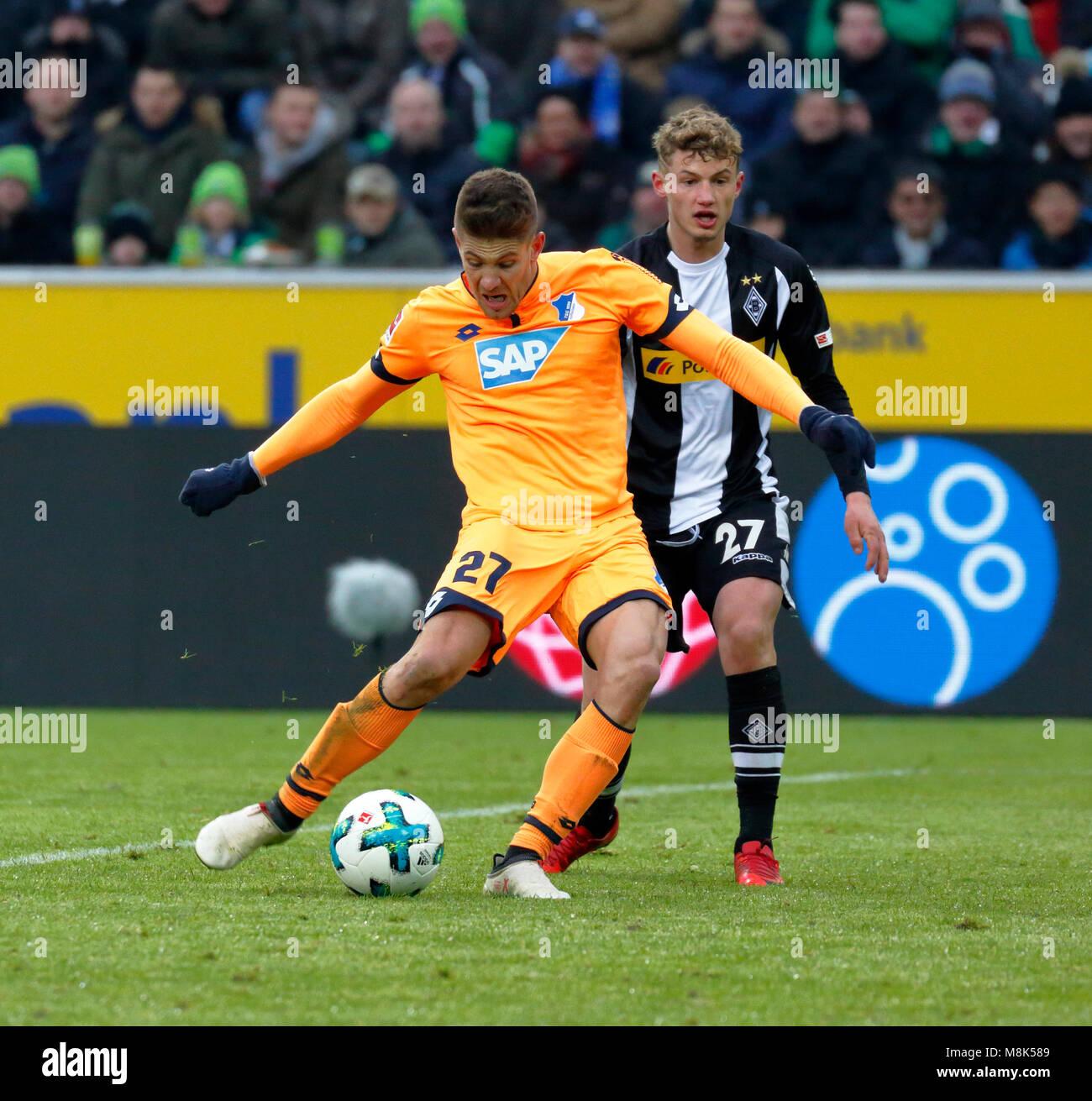 sports,football,Bundesliga,2017/2018,Borussia Moenchengladbach vs TSG 1899 Hoffenheim 3:3,Stadium Borussia Park,scene - Stock Image