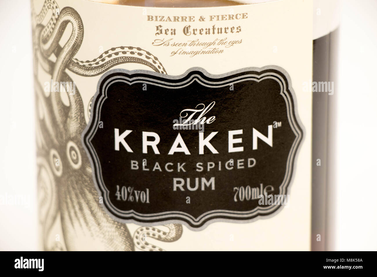 Geneva / Switzerland - March 20 2018 : Kraken spiced rum blakc ocotpus logo editorial use only - Stock Image