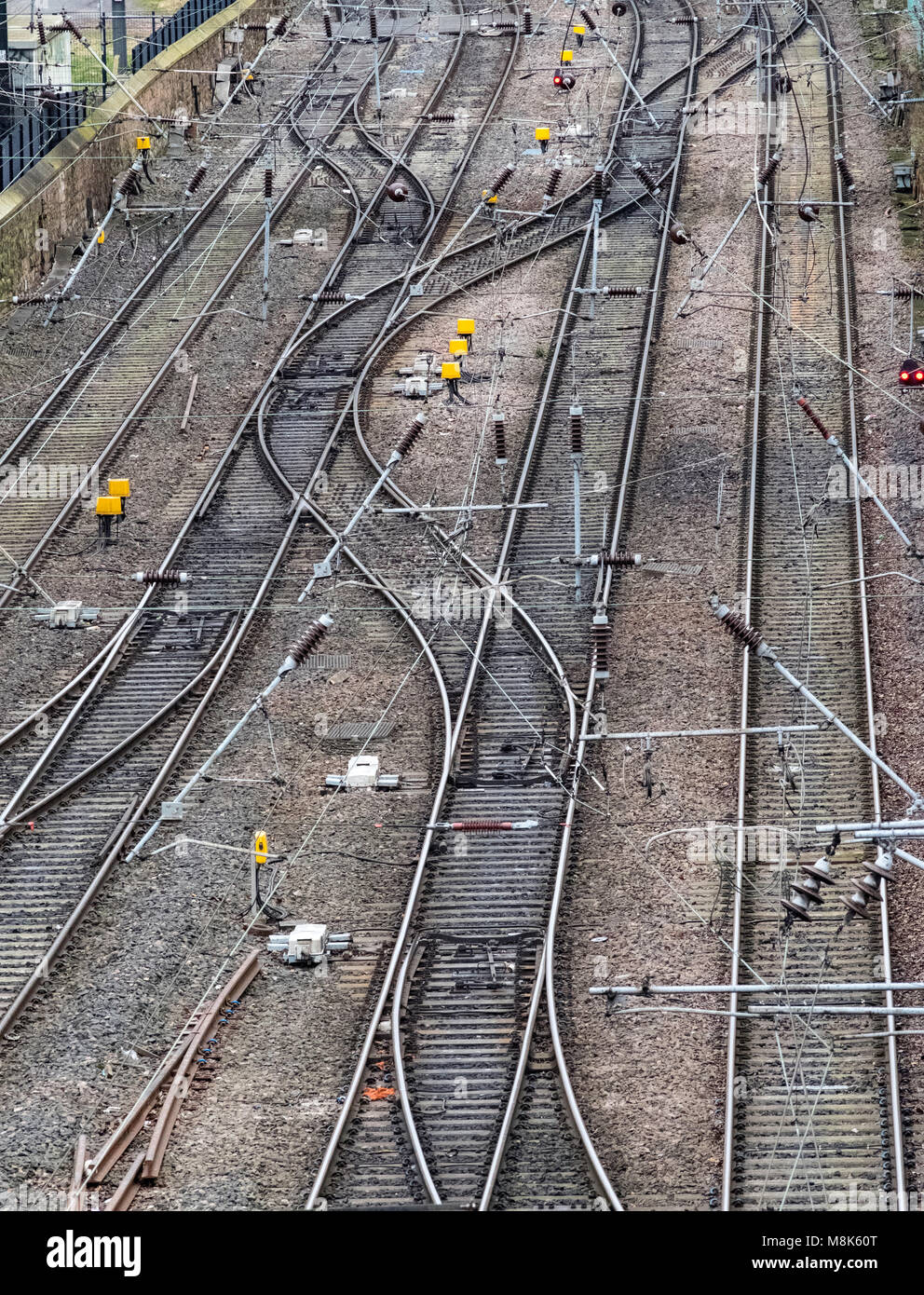 View of railway tracks on approach to Waverley Station in Edinburgh, Scotland, United Kingdom - Stock Image