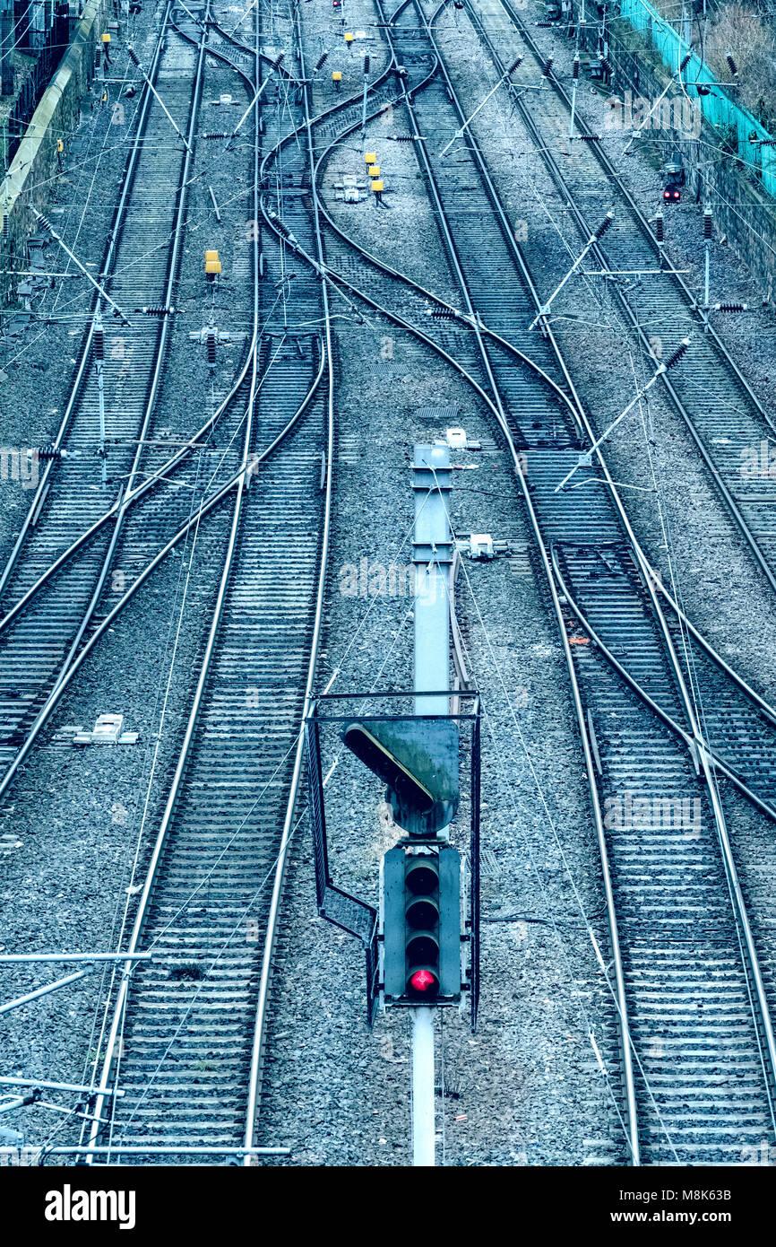 View of railway tracks on approach to Waverley Station in Edinburgh, Scotland, United Kingdom - Stock Image