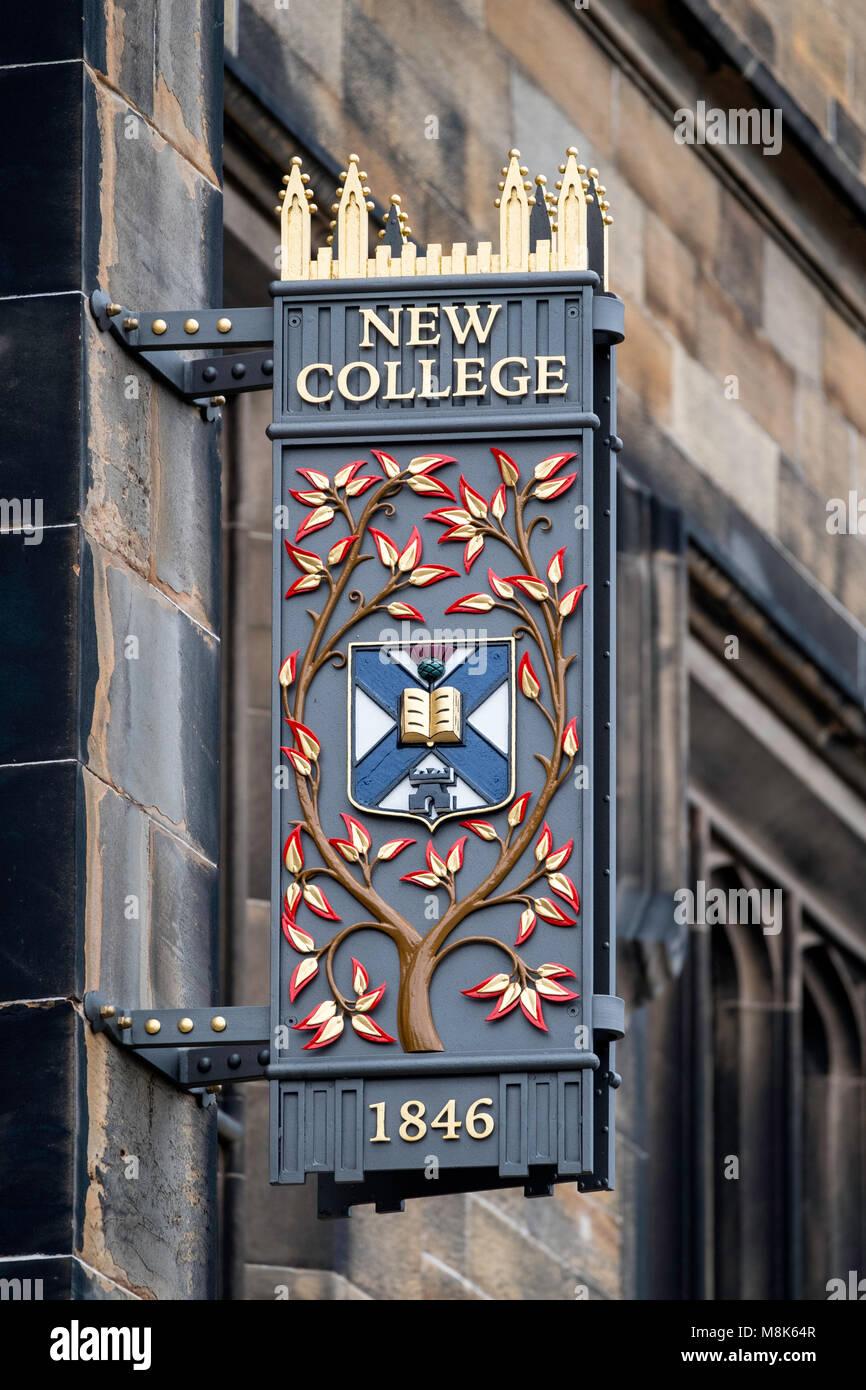 Edinburgh University New College on The Mound, Edinburgh, Scotland, United Kingdom - Stock Image