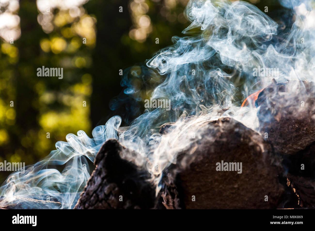 Burning firewood makes various smoke scroll shapes - Stock Image