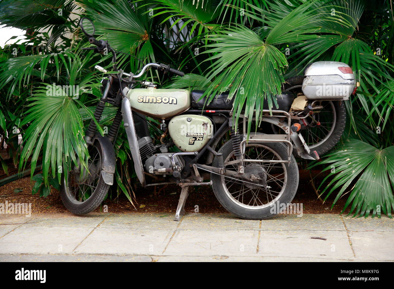 Old Motorbike, Habana Vieja, Cuba Stock Photo