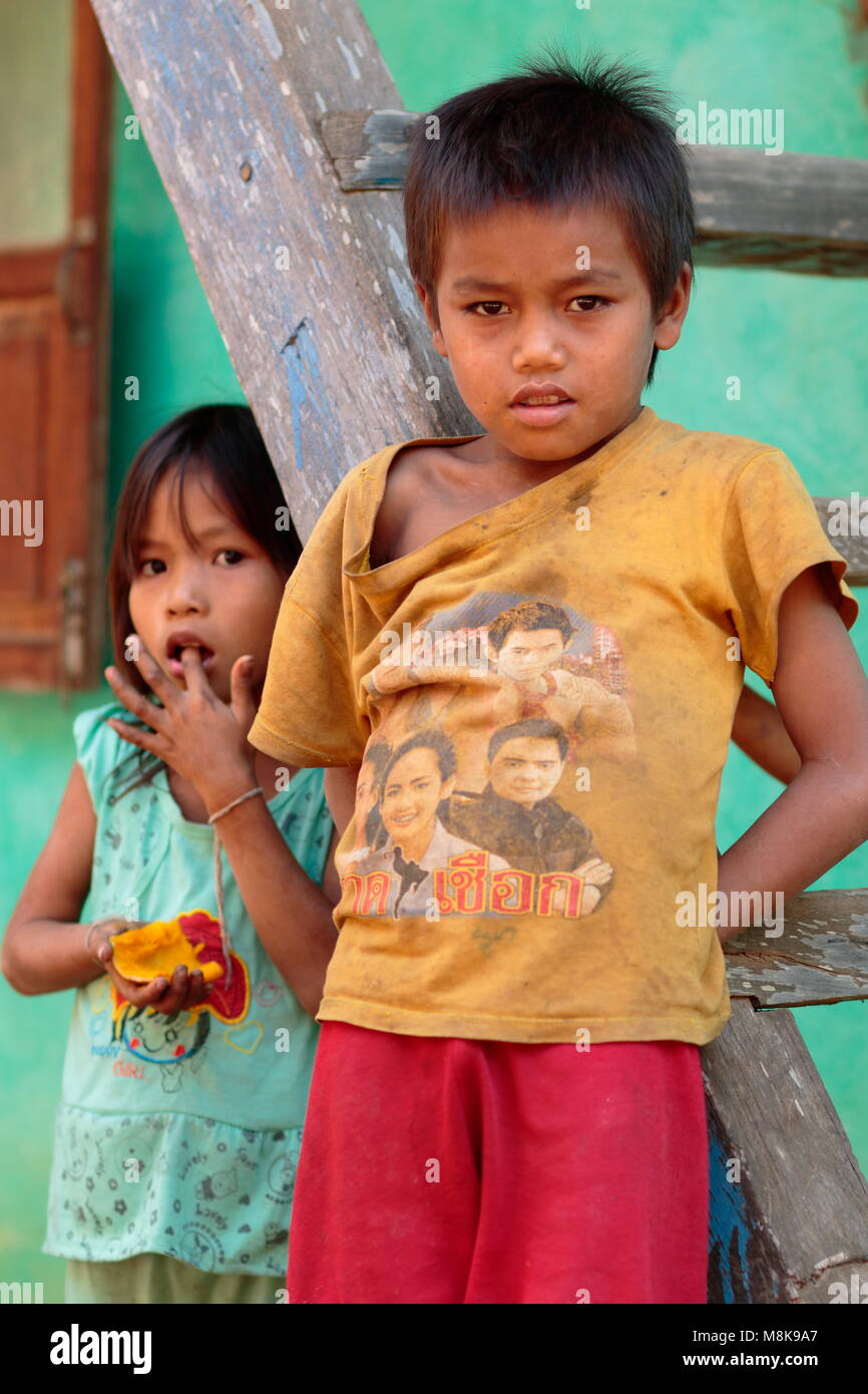 Village children, Mekong river, Laos - Stock Image
