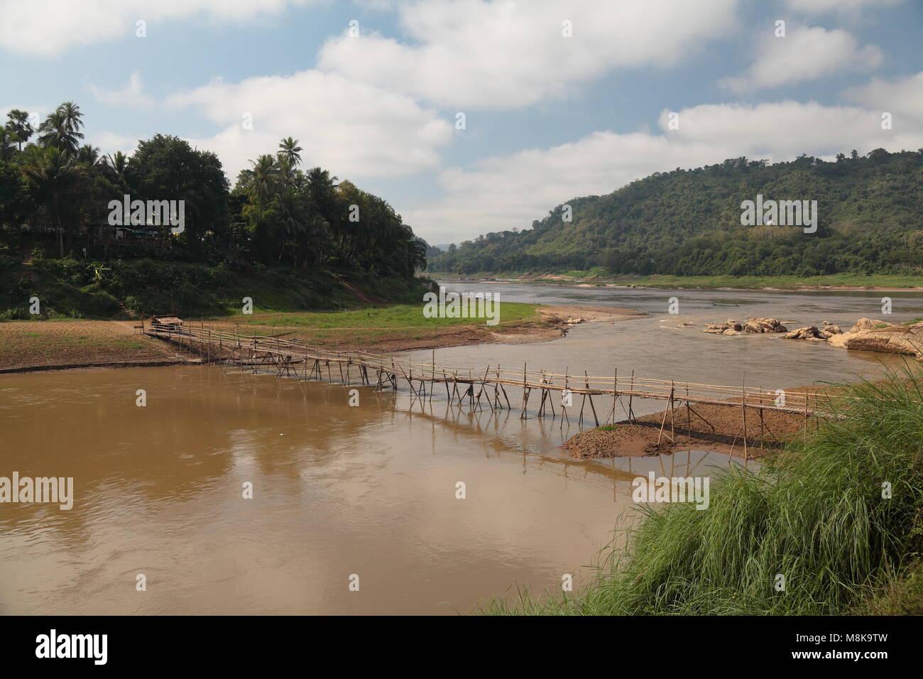 Bamboo bridge, Luang Prabang, Laos Stock Photo