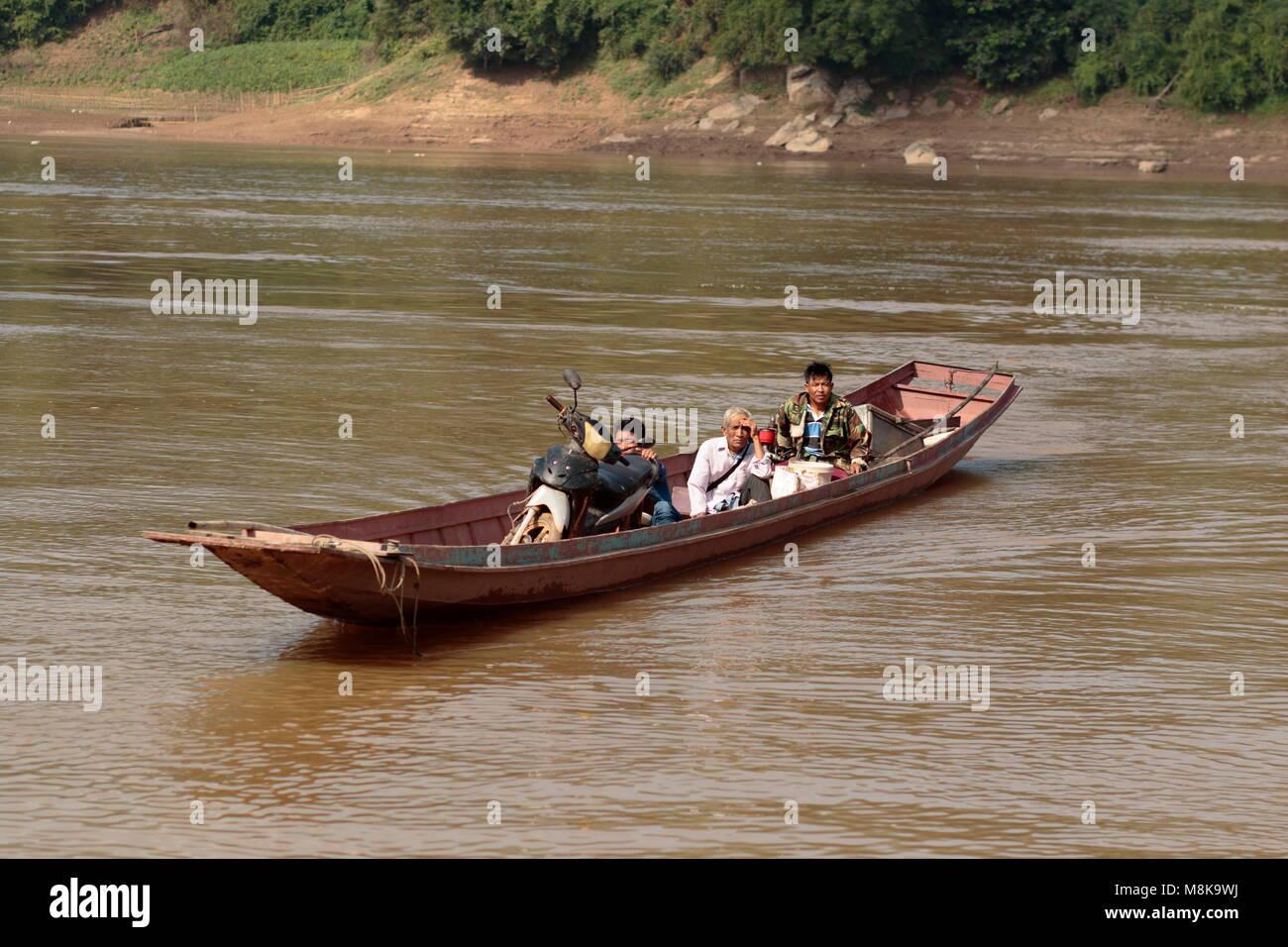 River Crossing, Mekong river, Laos Stock Photo