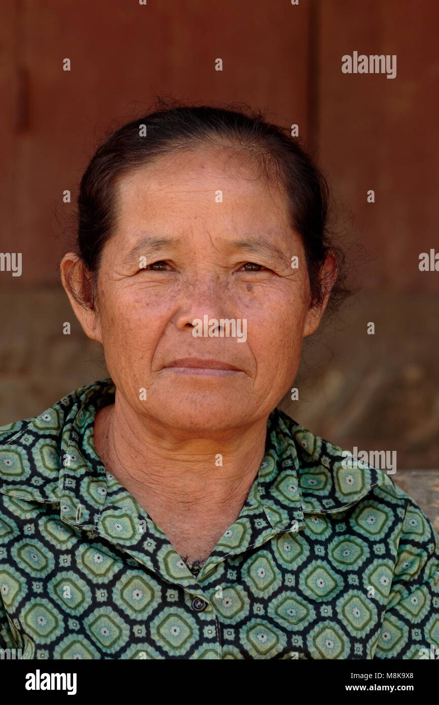 Laotian Villager, Mekong River, Laos - Stock Image