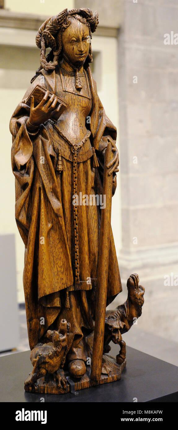 Saint Margaret. Brussels, early 16th century. Oak. Museum Schnütgen. Cologne, Germany. - Stock Image
