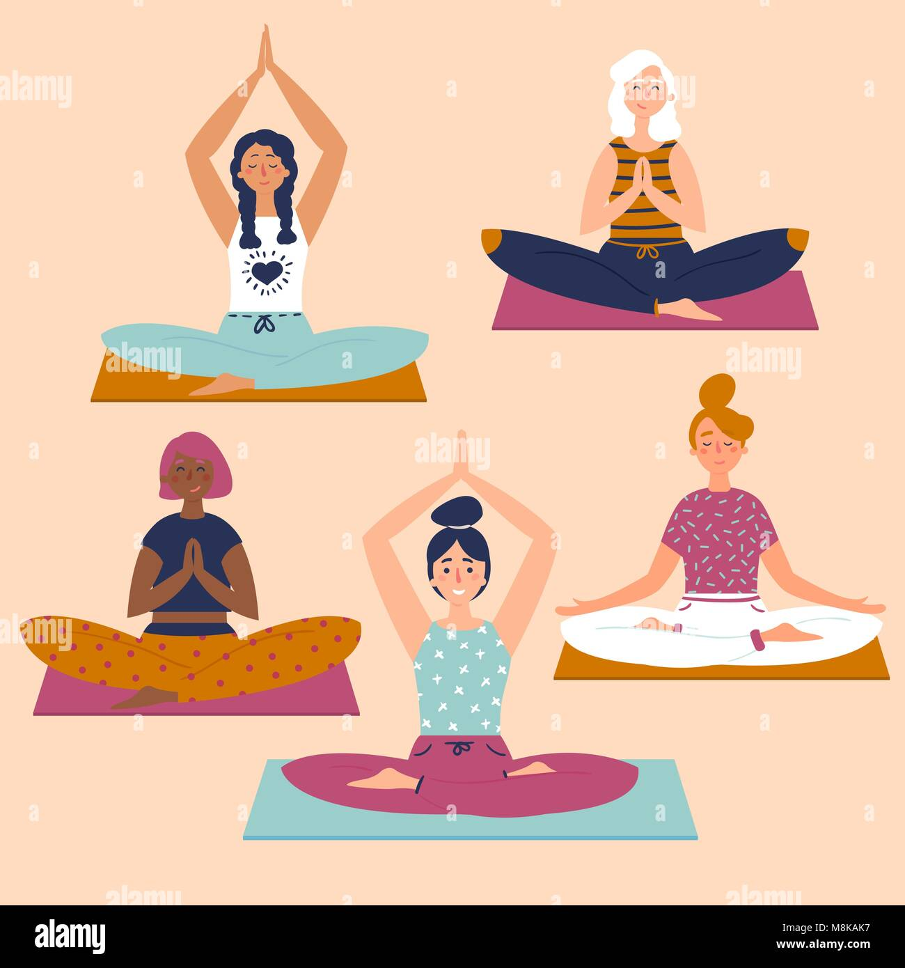 Set with beautiful women in lotus pose of yoga - Stock Vector