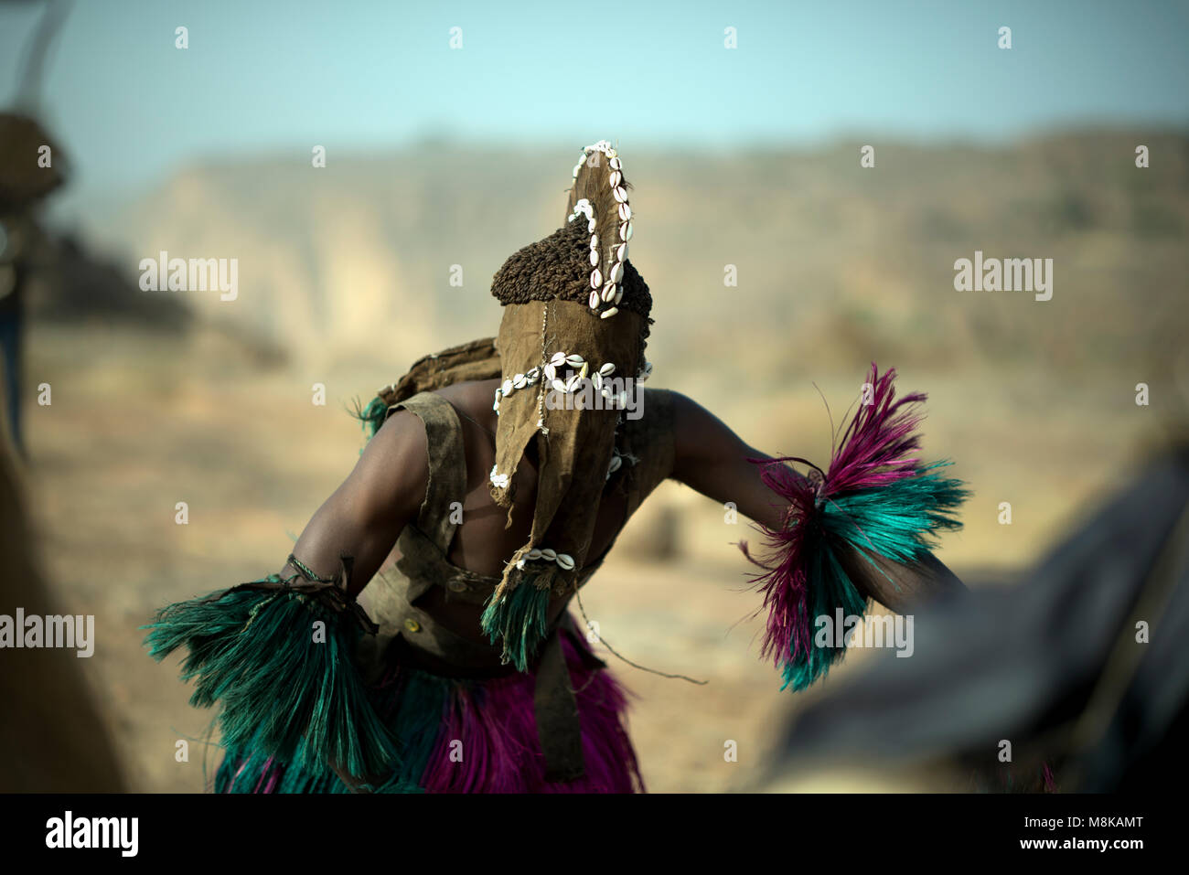 An indigenous Dogon masked dancer engaged in a ritualistic tribal dance. Mali, West Africa. - Stock Image