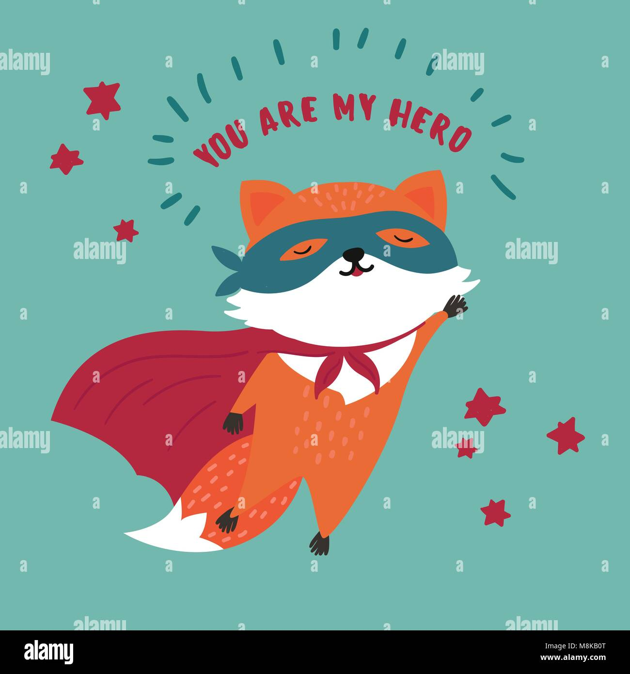 Fox in superhero mask and cloak.You are my hero - Stock Vector