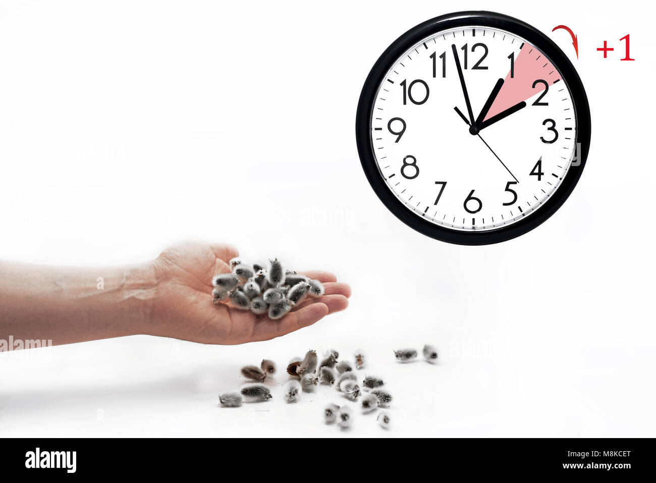 Daylight Saving Time. DST. Wall Clock going to winter time. Turn time forward. Abstract photo of changing time at - Stock Image