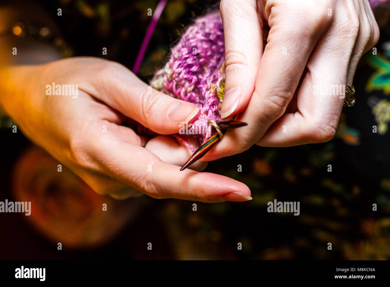 Hands Knitting - Stock Image