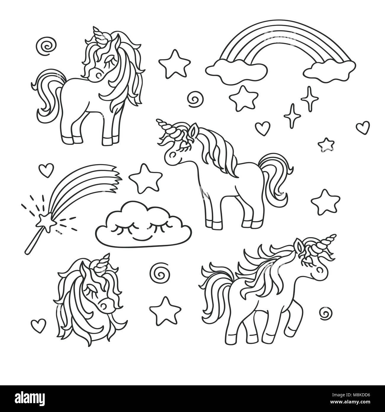 Unicorn, rainbow, clouds, stars, magic wand design vector outline ...