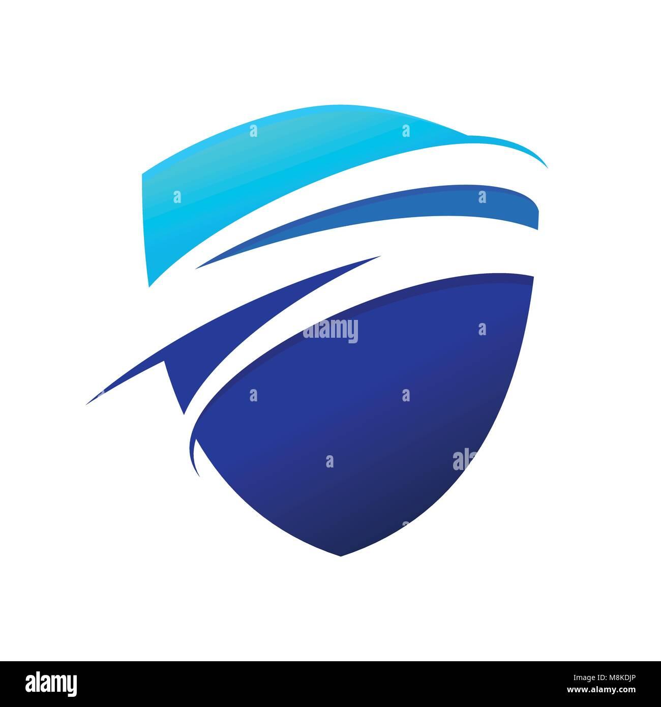 Blue Wave Swoosh Modern Shield Vector Symbol Graphic Logo Design - Stock Image