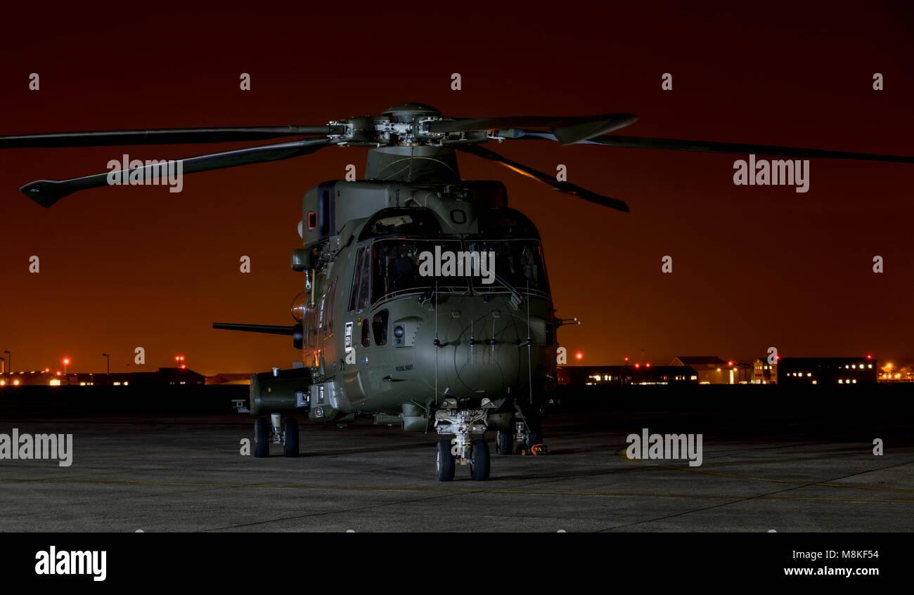 Royal Navy Merlin MK3 Commando Helicopter, ZJ103 - Stock Image