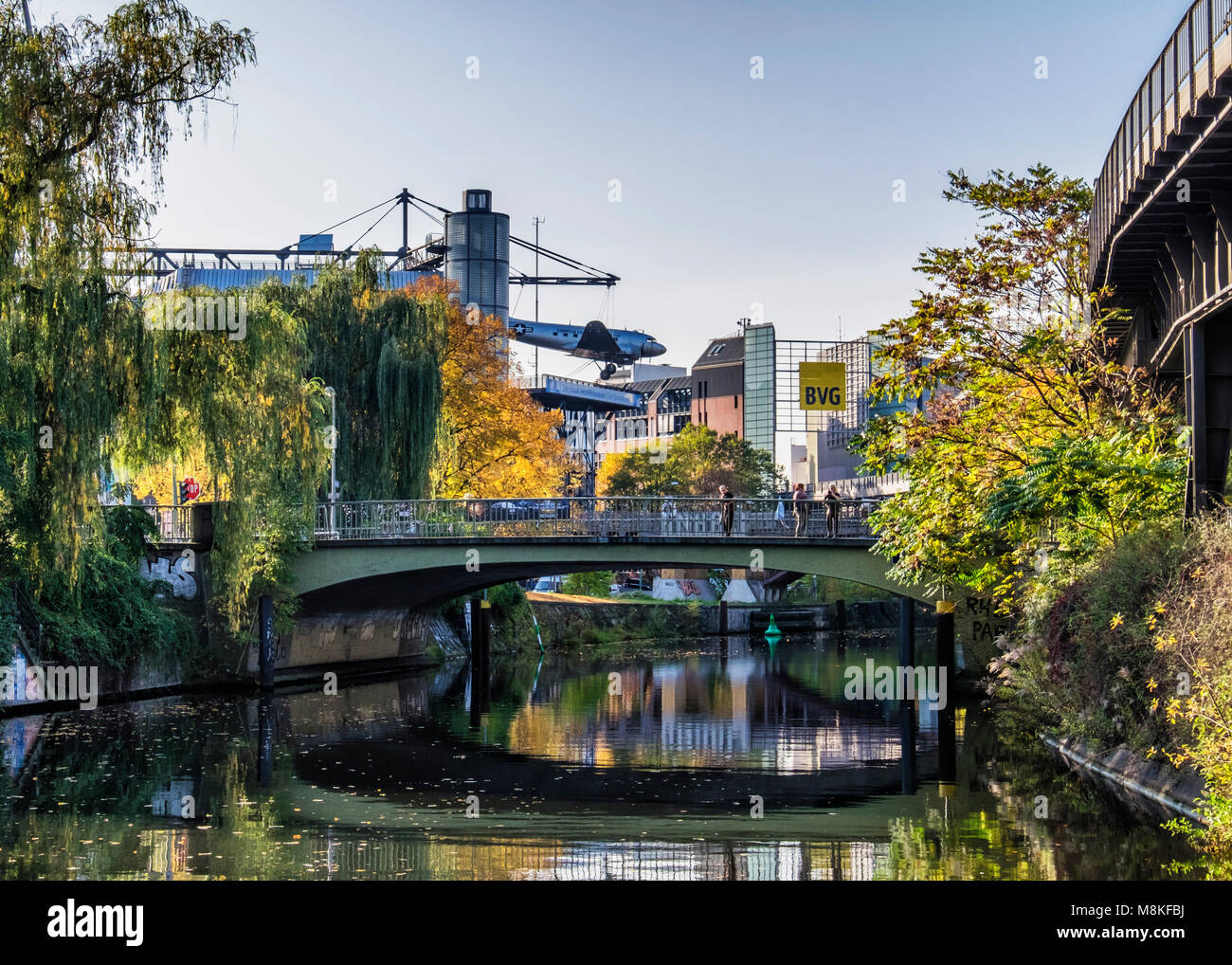 Berlin Deutsches Technikmuseum Museum of science and technology with  US Air Force Douglas C-47B 'Raisin Bomber' - Stock Image