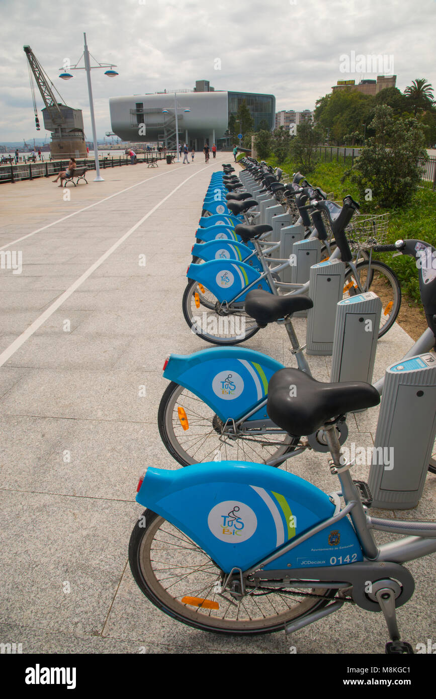 Bike parking and Botin Center. Paseo de Pereda, Santander, Spain. - Stock Image