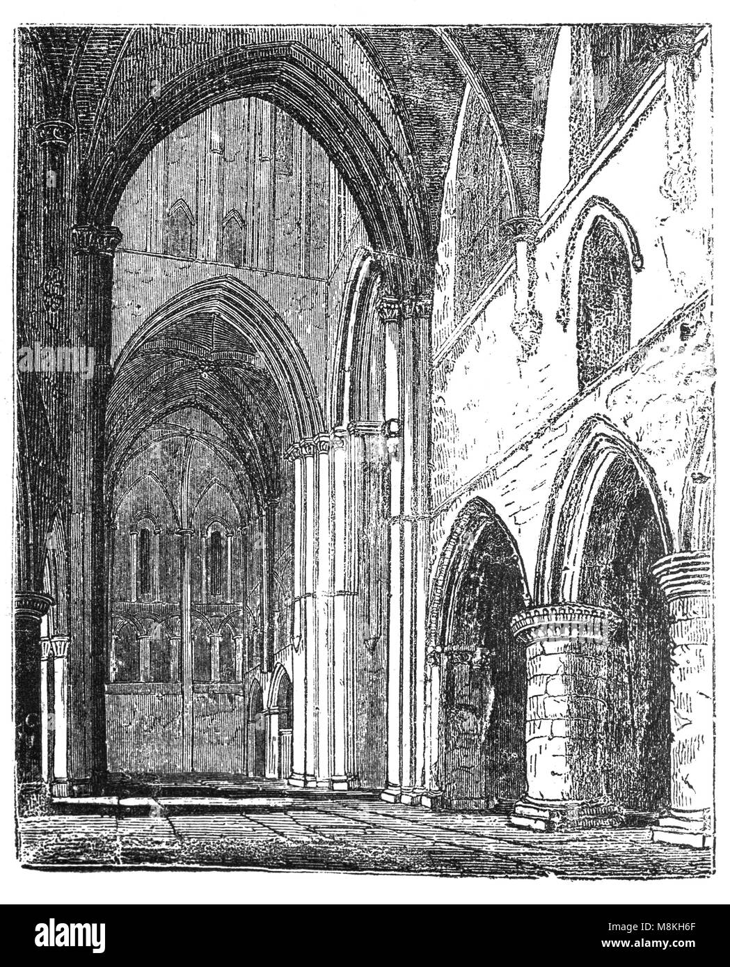 The nave of the 12th and 13th-century church of St Cross in Winchester, Hampshire, England is more like a miniature - Stock Image