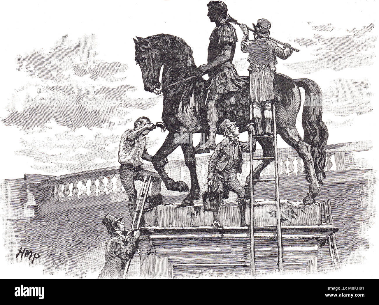 The equestrian statue of king William III, painted black by Irish republicans, Dublin, Ireland, November 1805, - Stock Image