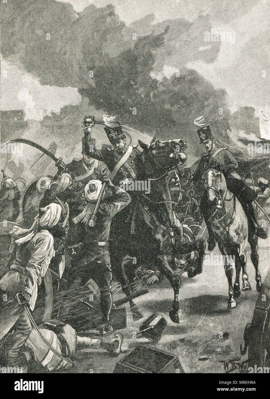 Sir Joseph Thackwell, leading the Cavalry charge, Battle of Sobraon, 10 February 1846 - Stock Image