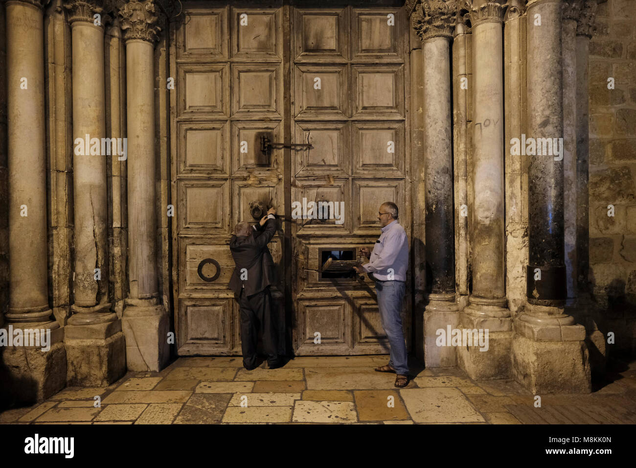 Wajeeh Nuseibeh, a Muslim whose family has opened and closed the Holy Sepulcher since the Ottoman era closing the - Stock Image
