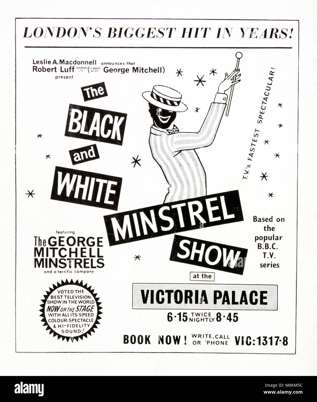 1960s advertisement advertising the Black & White Minstrel Show at the Victoria Palace. - Stock Image