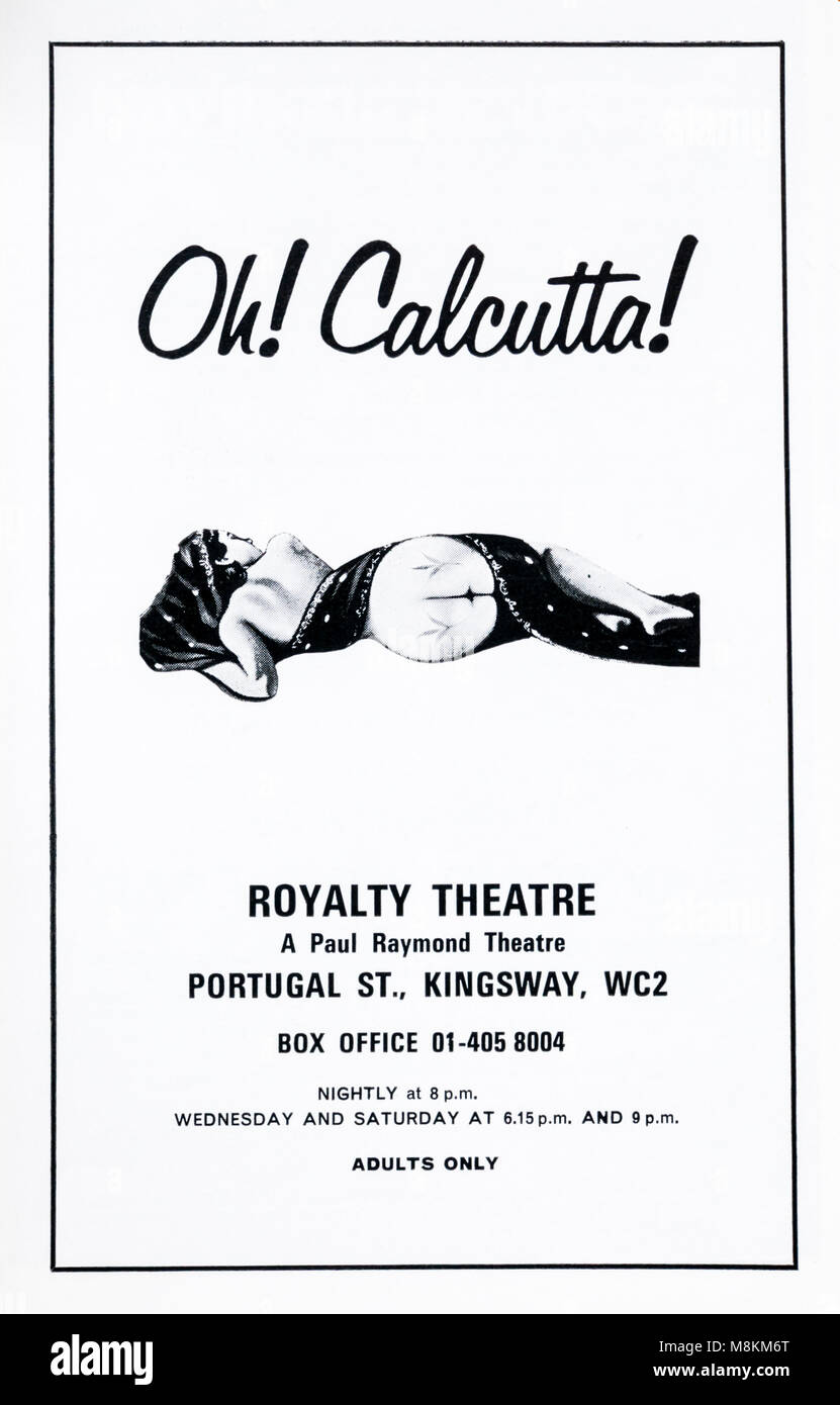 1960s advertisement advertising the 1970s theatrical revue Oh! Calcutta! at the Royalty Theatre - Stock Image